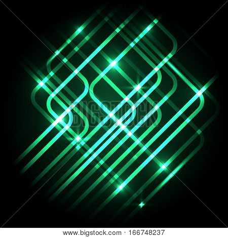 Abstract neon green background with lines, stock vector