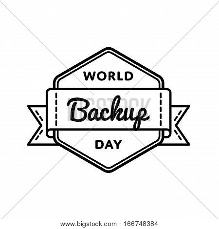 World Backup day emblem isolated vector illustration on white background. 31 march world computer holiday event label, greeting card decoration graphic element