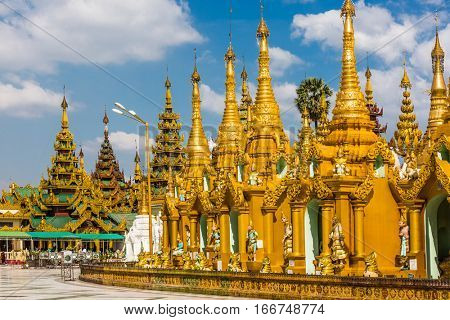 archictecture details of the Shwedagon Pagoda at Yangon in Myanmar