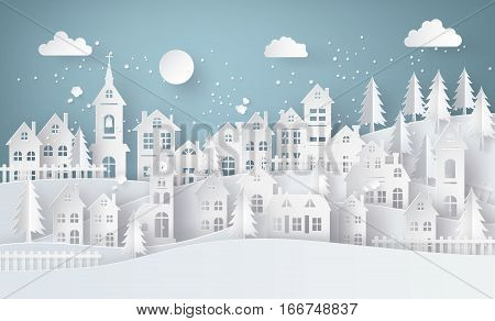Winter Snow Urban Countryside Landscape City Village with ful lmoonpaper art and craft style.