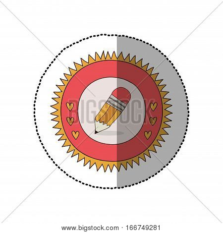 colorful sticker in sun shape with hearts and small pencil with eraser vector illustration
