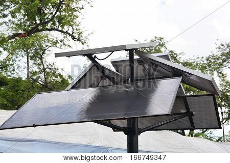 Electrical solar cell On the outdoors background.
