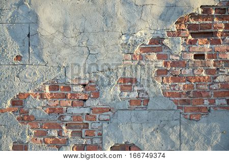 Brick Wall With Cracked Cement Tension