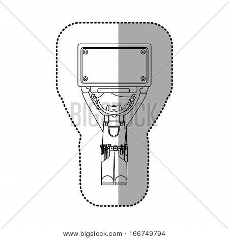 sticker contour avatar worker with toolkit and plaque up vector illustration