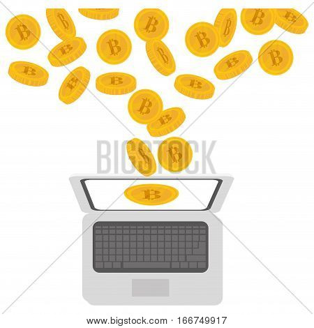laptop computer and bitcoin currency over white background. colorful design. vector illustration