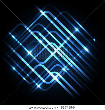 Abstract neon blue background with lines, stock vector