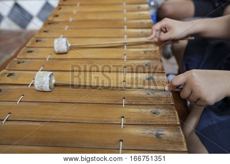 close up of Thai musical instrument, xylophone