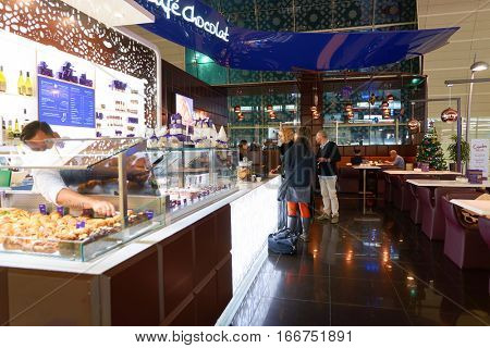 DUBAI, UAE - CIRCA NOVEMBER, 2016: inside Dubai Airport. There are a lot of restaurants, bars, cafes and shops in Dubai International Airport. Almost all of them are open twenty-four hours.
