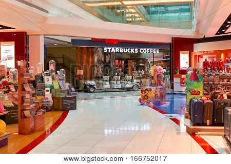 DUBAI, UAE - CIRCA NOVEMBER, 2016: Starbucks at Dubai Airport. There are a lot of restaurants, bars, cafes and shops in Dubai International Airport. Almost all of them are open twenty-four hours.