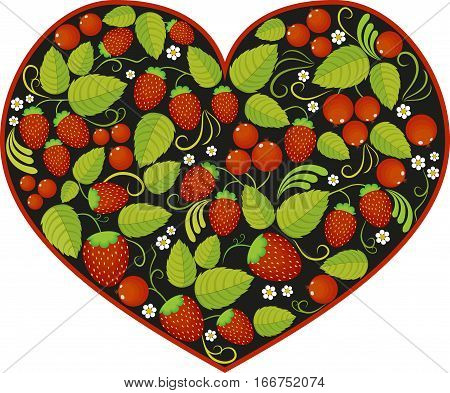 Vector black background floral heart with traditional russian pattern. Khokhloma.