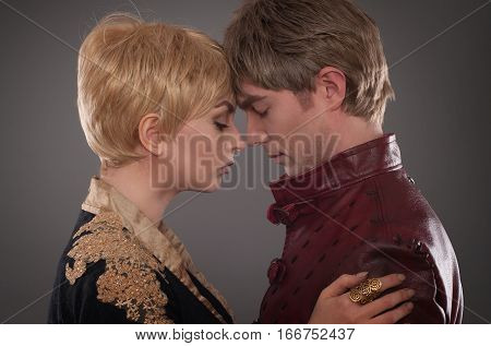 Medieval Couple. Valentines Day In Middle Ages Costumes. Baroque Festival