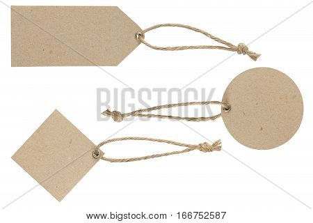 Price tag with rope and brass eyelet for hang isolate on white with clipping path