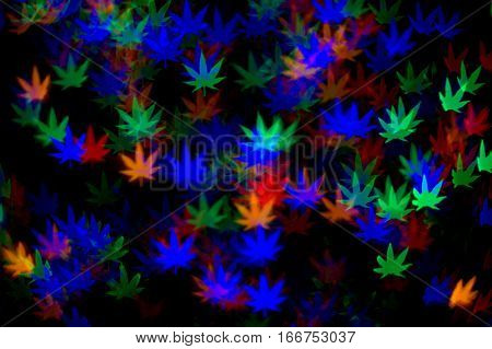 cannabis leaves red green blue multicolored bokeh effect abstract dark black background