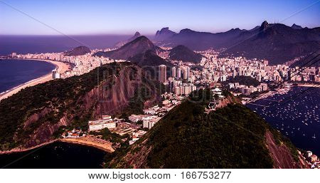 View of Mountains and Buildings from Sugarloaf Rio Brazil