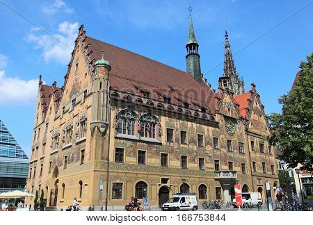 ULM, GERMANY - May 24, 2011: Medieval city of Ulm on May 24, 2011 in Ulm, Germany. Albert Estein was born in this famous city.