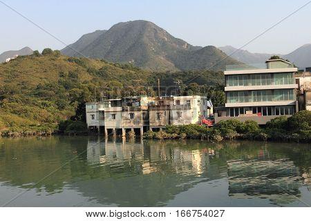 village in Tung Chung on Lantau island, Hong Kong