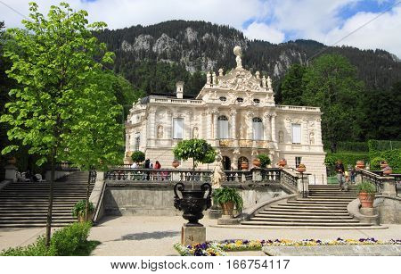 ETTAL,GERMANY- MAY 23: Linderhof Palace and garden on May 23, 2011 in Ettal, Germany. It is one of the most visited royal palaces built by the Bavarian monarch King Ludwig II in Germany.