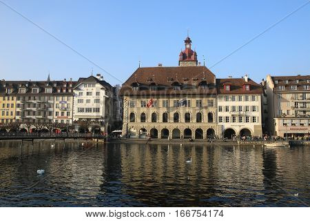 LUZERN, SWITZERLAND - NOV 11, 2015: Historic centre and lake on Nov 11, 2015 in Luzern, Switzerland. Lake Luzern and the historic city centre is a Swiss heritage of national significance.