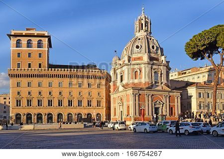 ROME, ITALY: January 02, 2017 : church Santa Maria di Loreto located near the giant Monument of Vittorio Emanuele II on january 02, 2017, Rome, Italy
