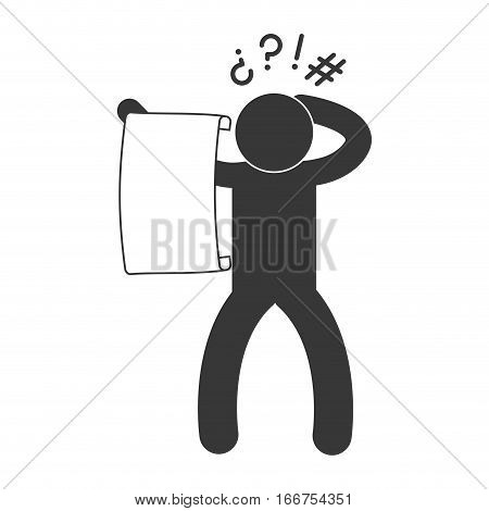 baffled person pictogram reading big piece of paper icon image vector illustration design