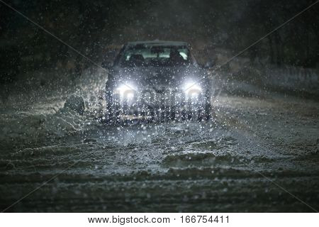 Car In Blizzard