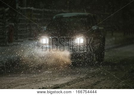 Car In Snowfall