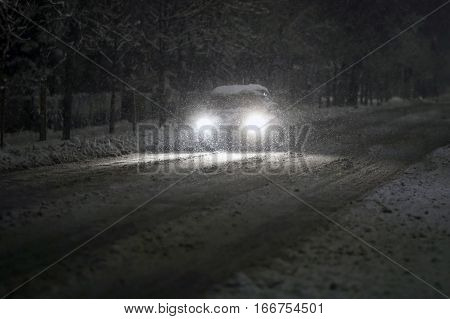 Car In Snowy Traffic