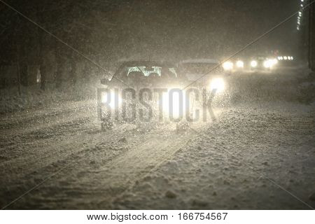 Cars In Snowfall