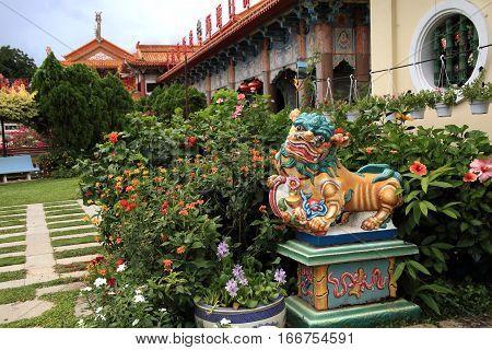 PENANG, MALAYSIA - SEPT 6, 2016: Kek Lok Si temple garden in Penang, Malaysia on Sept 6, 2016. Kek Lok Si is a landmark Buddhist temple in Penang.