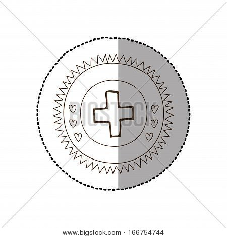 monochrome circular frame with middle shadow sticker with medical cross vector illustration
