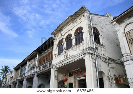PENANG, MALAYSIA - SEPT 6, 2016: Historic old town in Penang on Sept 6, 2016. It is a UNESCO world heritage in Malaysia.