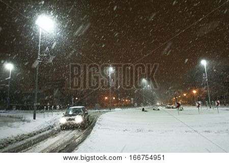 Snowy Traffic At Night
