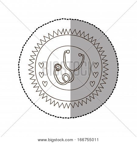 monochrome circular frame with middle shadow sticker with stethoscope vector illustration