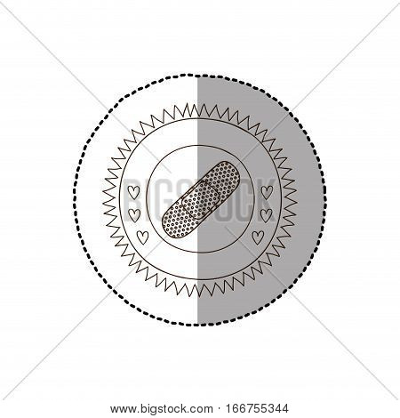 monochrome circular frame with middle shadow sticker with band aid vector illustration