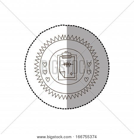 monochrome circular frame with middle shadow sticker with table notepad electrocardiogram vector illustration