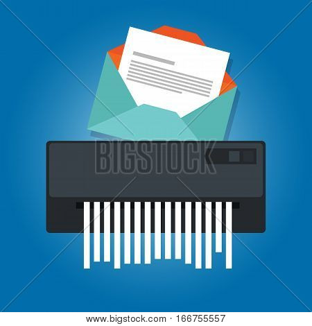 delete remove spam email trash message paper shredder vector