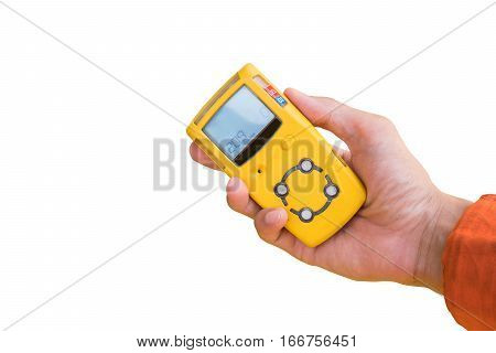 Hand hold gas detector for chek gas leak isolate on white