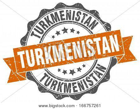 Turkmenistan. round isolated grunge vintage retro stamp