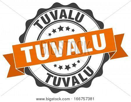 Tuvalu. round isolated grunge vintage retro stamp