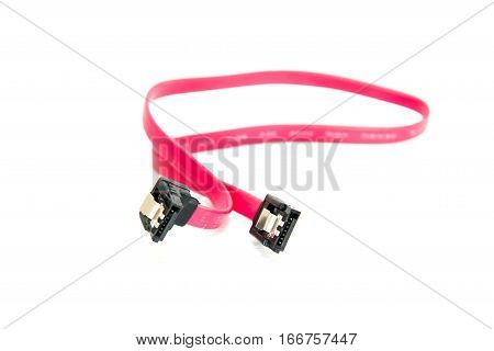 red sata data cable on white background