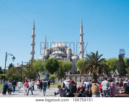 Istanbul, Turkey, 10 may 2015, the Blue Mosque, Sultanahmet Camii and square with crowd of tourists, wide angle