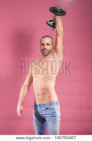 Man Dumbbell Arm Extended Shirtless Abs
