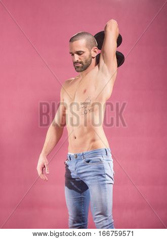 Man Dumbbell Arm Triceps Shirtless Abs