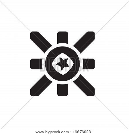 Vector icon or illustration showing marketing and advertising with star in one balck color