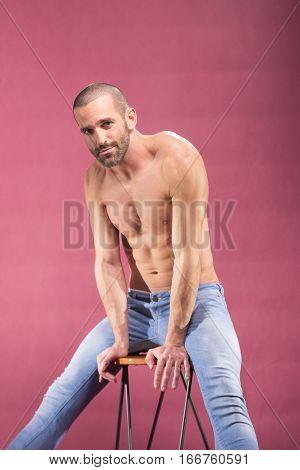 Playful Carefree Man Posing Handsome Pink Background
