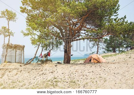 Camping Tent On Beach. Concept Tourism, Vacation Olkhon Island, Baikal