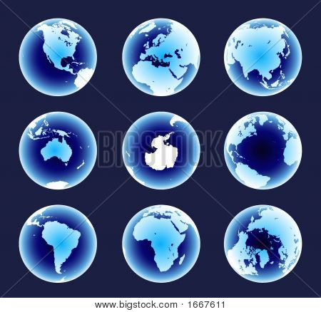 Glowing Blue World Continents