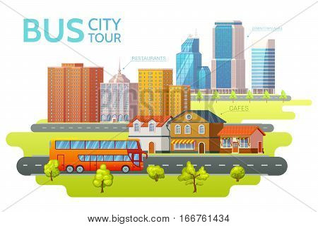 Colorful sightseeing tour template with travel bus and beautiful summer cityscape vector illustration