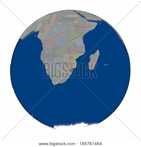 Swaziland On Political Globe