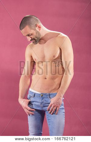 Young Man Posing Pink Background Shirtless Gay